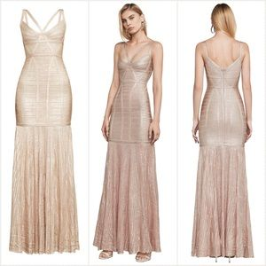 Herve Leger Gold Zhenya Gown, Sz S / Small